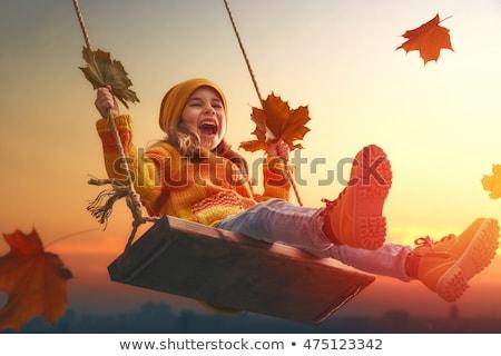 осень девушки Swing розовый шин парка Сток-фото © FOTOYOU