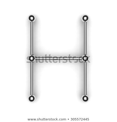 metal lattice font letter h 3d stock photo © djmilic