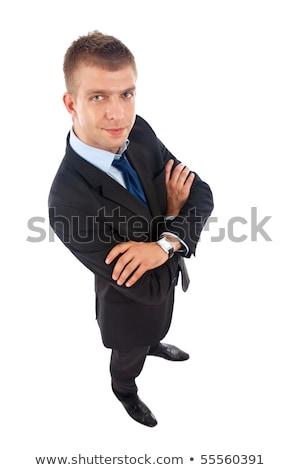 Széles látószögű kép lezser férfi mosolyog kamerába Stock fotó © feedough