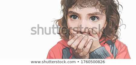 Surprised curly little girl covered opened mouth by hands Stock photo © deandrobot