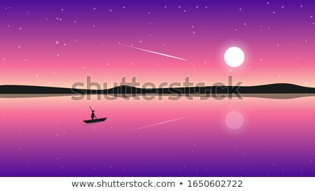 Vector illustration boat on lake against the Moon stock photo © Vertyr