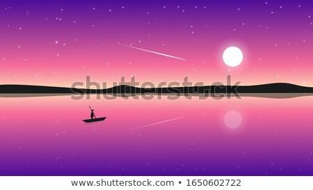 csónak · tó · hold · barna · ázsiai · égbolt - stock fotó © Vertyr