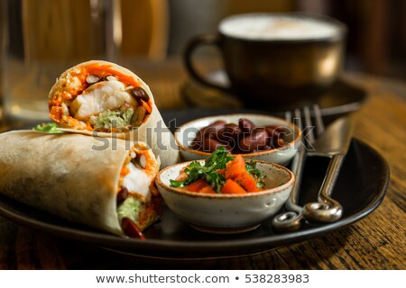 鶏 · タコス · ソフト · 辛い · チキンサラダ · サワークリーム - ストックフォト © zoryanchik