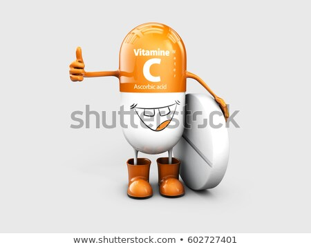 Vitamin C shining pill cartoon capsule. 3d illustration Stock photo © tussik