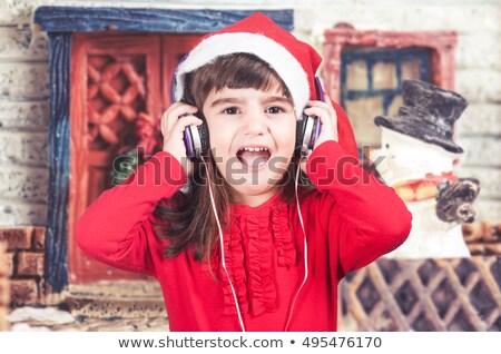 Boneco de neve escuta natal canção aquarela ilustração Foto stock © orensila