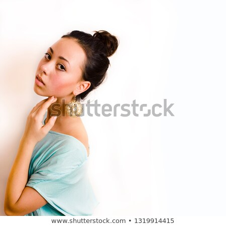 young brunette woman dressed like ancient greek godess gold jew stock photo © iordani