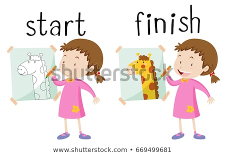 Opposite wordcard for start and finish Stock photo © bluering