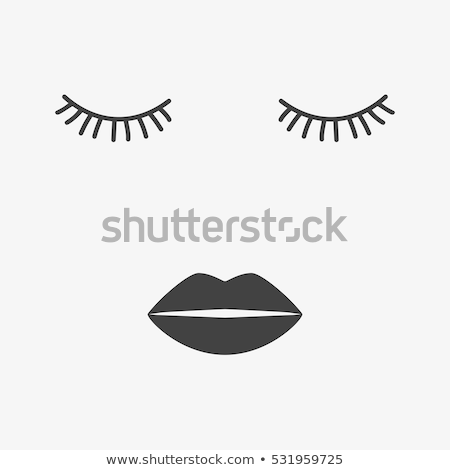 Eyelashes and lips vector icons, pretty girl's face, closed eyes and heart lips - beauty concept   Stock photo © RedKoala