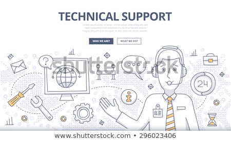 technical support concept with business doodle design style onl stock photo © davidarts