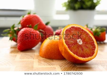グレープフルーツ 朝食 赤 スライス 白 プレート ストックフォト © Fisher