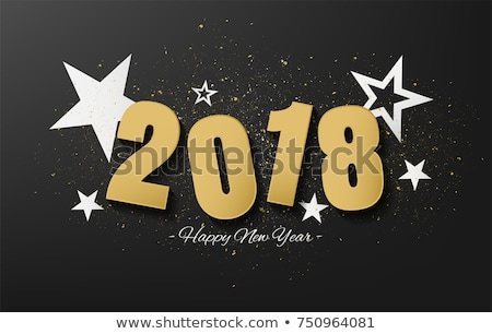 2018 happy new year and merry christmas frame with snow and rea stock photo © davidarts