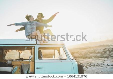 çift · Retro · genç · mutlu · konuşma - stok fotoğraf © lightfieldstudios