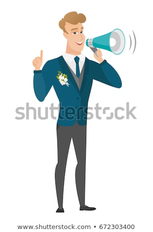 Young caucasian groom making announcement . Stock photo © RAStudio