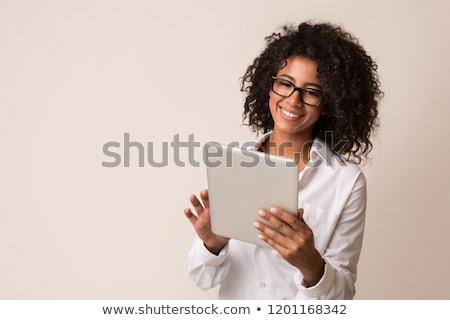 mulher · jovem · olhando · maravilhado · acima · marrom - foto stock © traimak