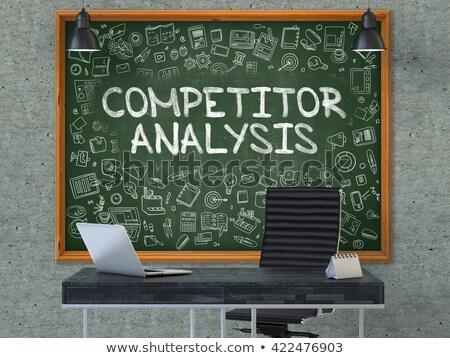 competitor analysis concept doodle icons on chalkboard stock photo © tashatuvango