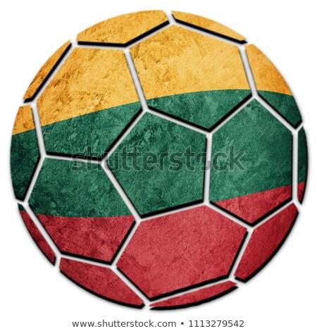футбола пламя флаг Литва черный 3d иллюстрации Сток-фото © MikhailMishchenko