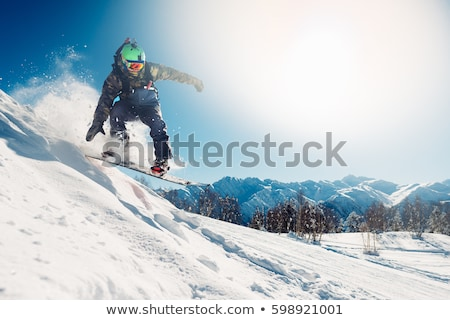 Winter Sport. Ski and Snowboard. Mountain landscape. Snowboarder in motion. Vector illustration. stock photo © Leo_Edition