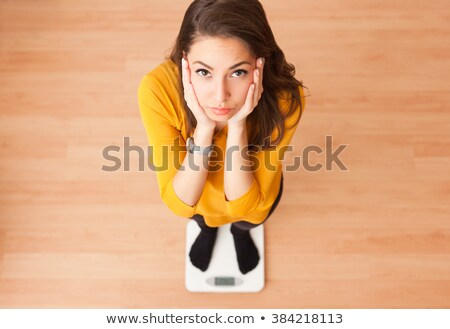 Lány csekk súly aggódó illusztráció nő Stock fotó © lenm