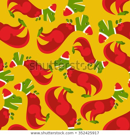 Santa Claus t-Rex. Dinosaur in Santa's red suit. Character for C Stock photo © popaukropa