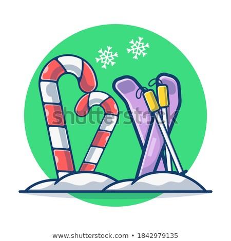 Mascot Snowflakes Ski Stok fotoğraf © lenm