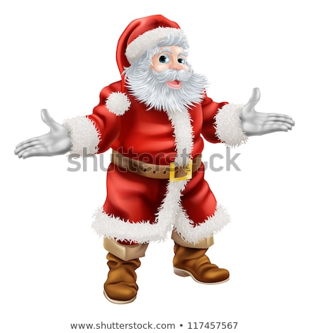 Santa Claus Cartoon Mascot Character Waving. Hand Drawing  stock photo © hittoon
