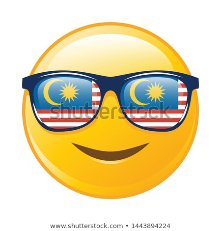 Patriotic Yellow Cartoon Emoji Face Character With Sunglasses Waving An Canadian Flag Stock photo © hittoon