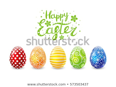 Vector Illustration of Happy Easter Holiday with Red Painted Egg on Clean Background. International  Stock photo © articular