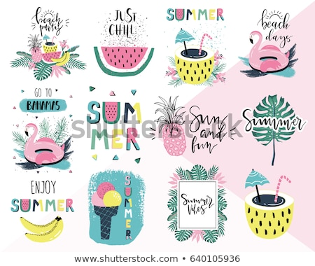 vector tropical holiday typographic illustration with exotic leaf and flower on blue background sum stock photo © articular