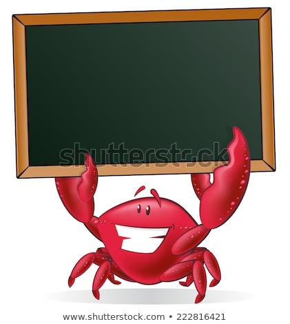 happy crab cartoon mascot character holding blank sign stock photo © hittoon