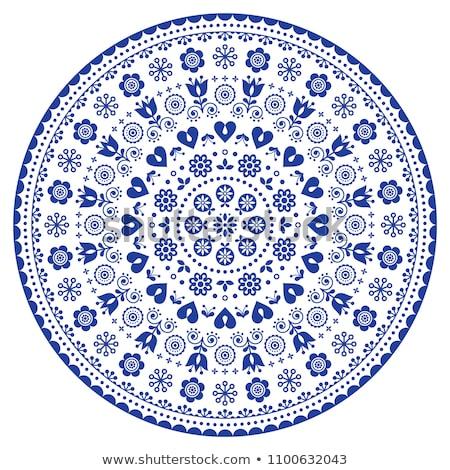floral scandinavian mandala design folk art seamless vector pattern with flowers black and white f stock photo © redkoala
