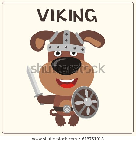 Cartoon sonriendo vikingo cachorro perro animales Foto stock © cthoman