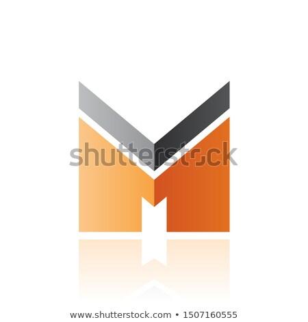 Fekete narancs m betű csík tükröződés izolált Stock fotó © cidepix