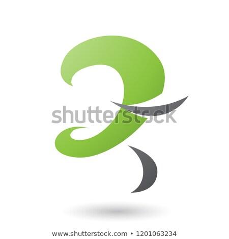 absztrakt · zöld · fekete · szürke · hullámos · modern - stock fotó © cidepix