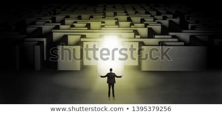 Lost businessman standing at illuminated labyrinth entrance Stock photo © ra2studio
