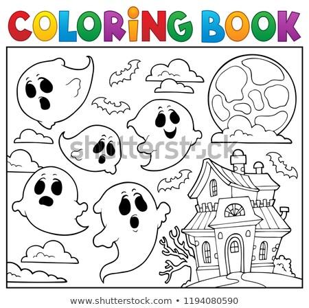 книжка-раскраска Ghost книга искусства осень особняк Сток-фото © clairev