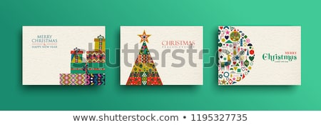 Merry Christmas retro folk art card collection Stock photo © cienpies
