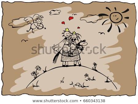 Cartoon черный Knight обнять иллюстрация готовый Сток-фото © cthoman