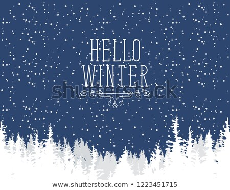 Forest with trees background and inscription hello winter. Stock photo © Margolana
