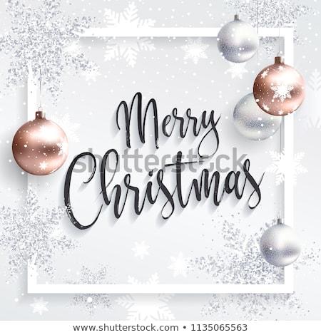 tiszta · vidám · karácsony · hópelyhek · golyók · háttér - stock fotó © SArts