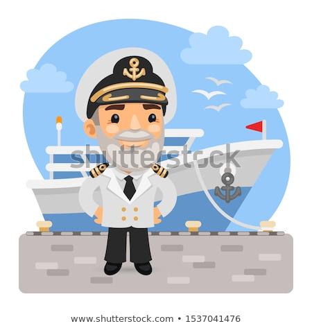 Cartoon Smiling Boat Captain Man Stock photo © cthoman