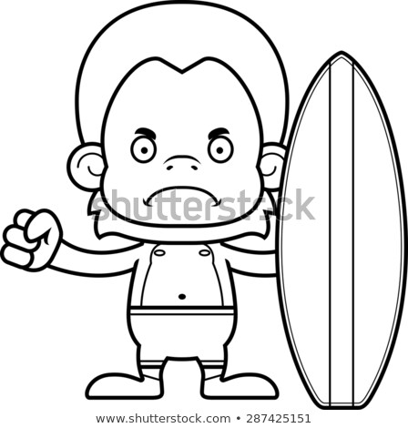 Cartoon Angry Surfer Orangutan Stock photo © cthoman
