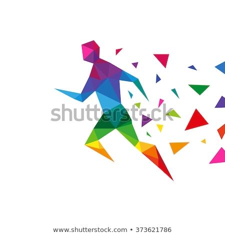 healthy man triangle logo sign vector icon Stock photo © blaskorizov