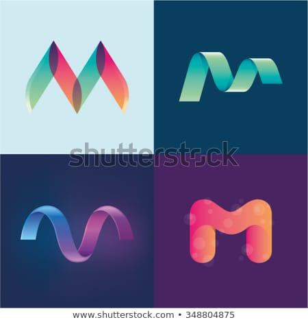 M betű zöld logotípus felirat logo ikon Stock fotó © blaskorizov