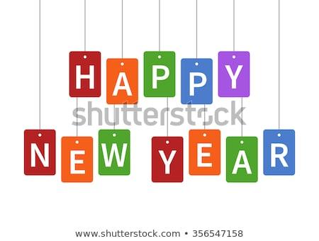 happy · new · year · carte · de · vœux · modèle · typographique · design · noir - photo stock © foxysgraphic