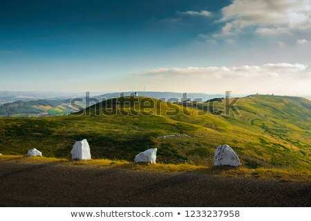 Stock photo: Portuguese windmills over the hills