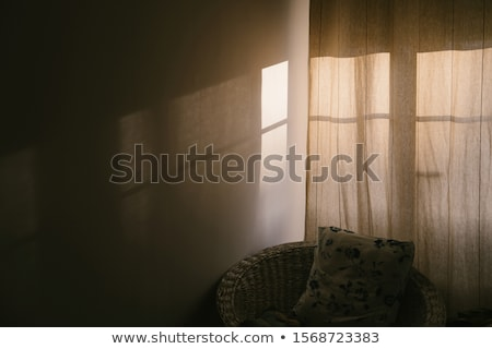 Cozy interior home window. Evening and morning view from window of outdoor winter snow isolated on w Stock photo © Lady-Luck