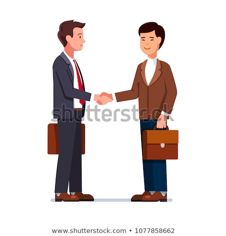 Partnership Vector. Two Man Businessman Holding In Hands Two Large Puzzles And Put It Together. Illu Stock photo © pikepicture