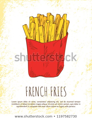 french fries in red package colorful vector card stock photo © robuart