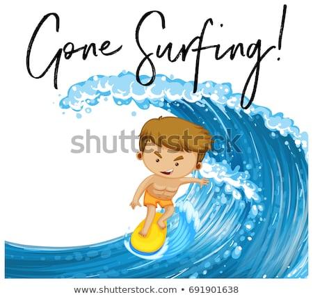 Szó szörfözik férfi szörfdeszka illusztráció sport Stock fotó © colematt