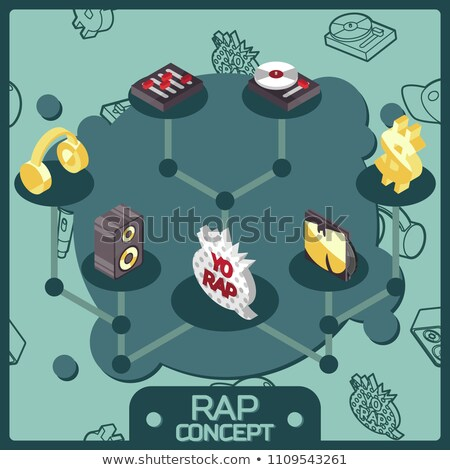 Rap kleur isometrische iconen eps 10 Stockfoto © netkov1
